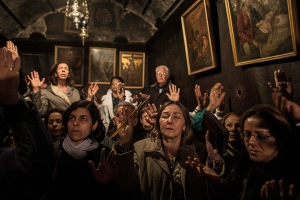 Bethlehem: Pilgrims pray inside the Grotto where Christians believe the Vir